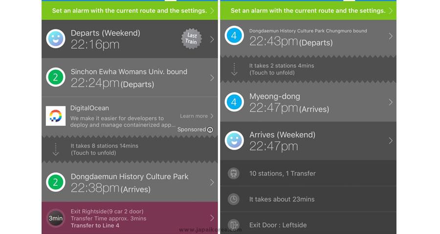 แอพแสดงเวลารถไฟในเกาหลี และรายละเอียดเส้นทางการเดินทาง