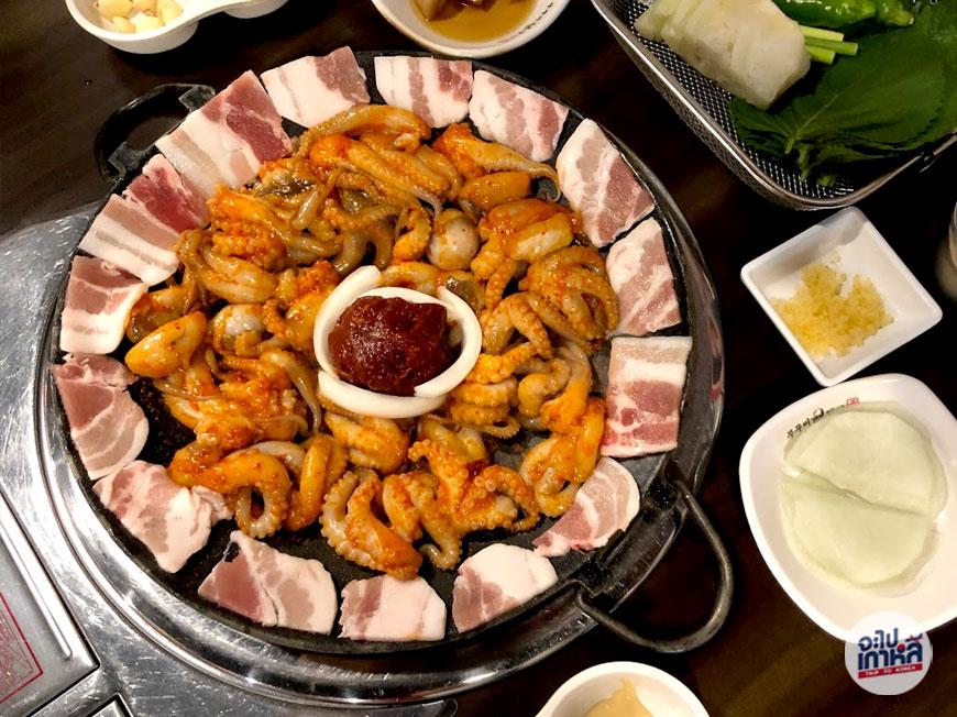ปลาหมึกผัดซอสเกาหลี จุกุมี