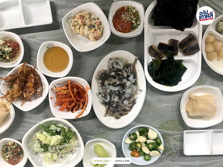 산낙지 ปลาหมึกสด เกาหลี ปลาดิบ